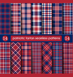 Patriotic tartan set white blue red seamless vector