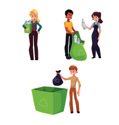 People collecting plastic bottles waste garbage vector