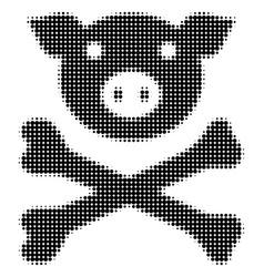 Pig death halftone icon vector