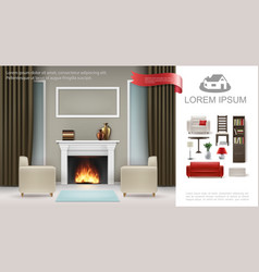 realistic classic interior concept vector image