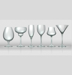 realistic glass cups empty transparent champagne vector image