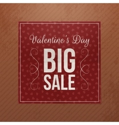 Red square paper banner with valentines day text vector