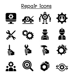repair fixing maintenance icon set vector image