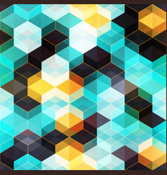 retro mosaic with gold frame seamless pattern vector image