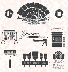 Retro Painting Service Labels and Icons vector image