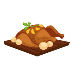 Roasted chicken with potato and orange slices on vector
