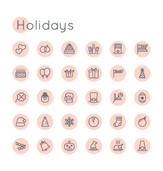 Round Holidays Icons vector