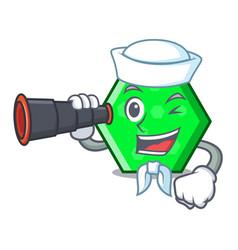 Sailor with binocular octagon mascot cartoon style vector