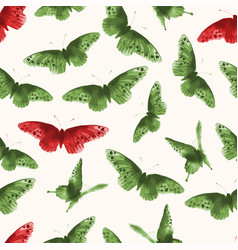 seamless background with green and red butterflies vector image
