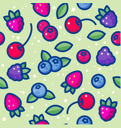 seamless pattern red and blue berries vector image