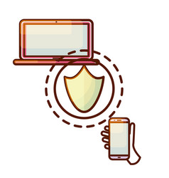 Secure connection laptop computer and smartphone vector