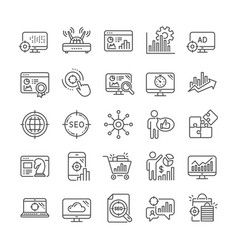 Seo line icons set increase sales business vector