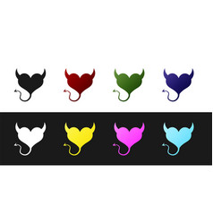 Set devil heart with horns and a tail icon vector