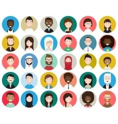 Set diverse round avatars vector