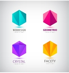set of crystal 3d logos icons signs Idea vector image