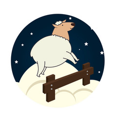 Sheep jump sleep icon vector