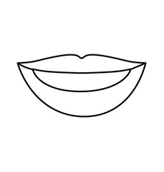 Silhouette drawing of woman lips with teeths vector