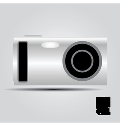 Silver digital compact camera eps10 vector