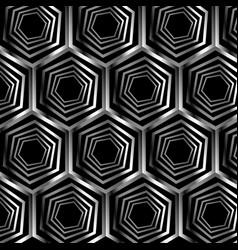 silver hexagonal optical illusion vector image