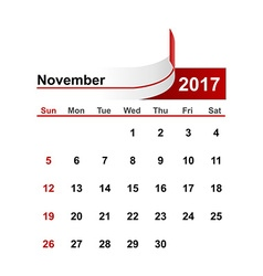 simple calendar 2017 year november month vector image