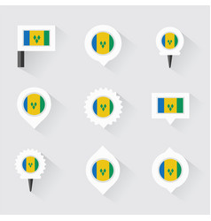 st vincent amp the grenadines flag and pins for vector image
