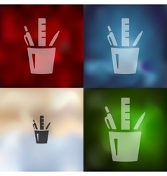 stationery tools icon on blurred background vector image
