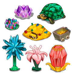 Stones mountains of gold turtles and flowers vector