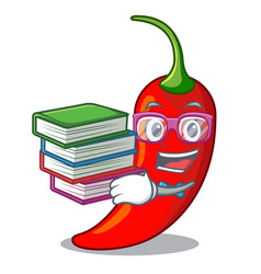 student with book red chili pepper isolated on vector image