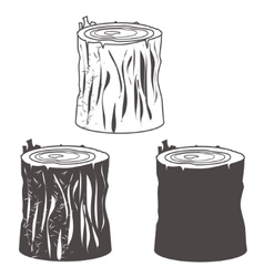 Stump silhouettes set vector