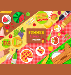 Summer friends picnic poster with delicious food vector