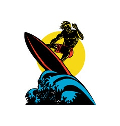 Surfer Wave Retro vector image