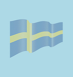 sweden flag on blue background wave stripe vector image