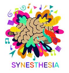 Synesthesia bright concept human brain notes vector