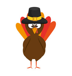 Thanksgiving turkey with hat character icon vector
