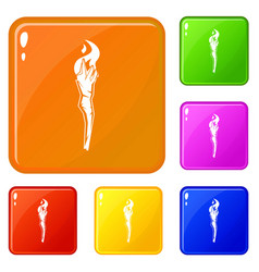 Torch icons set color vector
