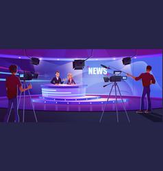 Tv presenters broadcasting news in modern studio vector