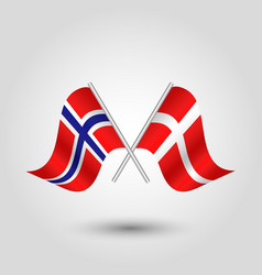 Two crossed norwegian and danish flags vector