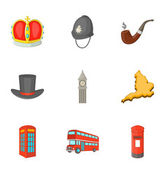 united kingdom sights icons set cartoon style vector image