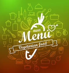 Vegetarian menu label design lineart concept vector