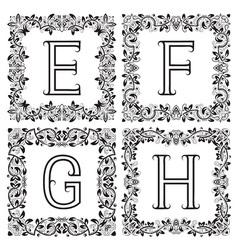 Vintage monograms set E F G H outline letters in vector image