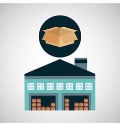 warehouse building cardboard box vector image