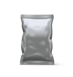 White plastic bag for snack foil packaging vector