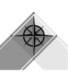 wind rose sign black icon with two flat vector image