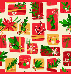 winter floral gift box christmas pattern vector image