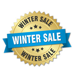 Winter sale 3d gold badge with blue ribbon vector