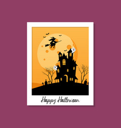 witch flying over hauntd house with moon on vector image