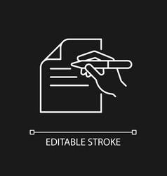 Written communication white linear icon for dark vector