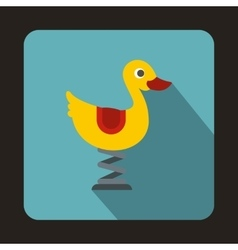 Yellow duck playground equipment icon flat style vector