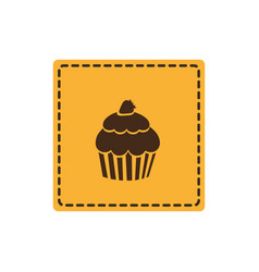 Yellow emblem muffin icon vector