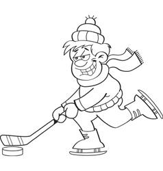 Cartoon boy playing hockey vector